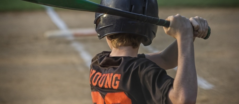 Closeup of Batter in Youth Baseball Game